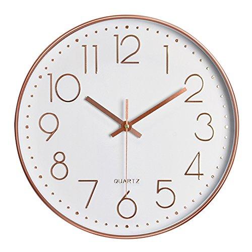 Pingenaneer Wanduhr Modern Quarz Lautlos Runde 30cm Wanduhren Ohne Tickgeräusche für Wohnzimmer Büro Küche - Rosegold 12 Zoll