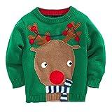 shineflow Niños Rudolph Reno Nariz Roja Ugly Christmas Sweater Jumper Verde