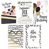 CUPCAKES & KISSES® Grußkarten 5er Sparset / Glückwunschkarte mit Briefumschlag / DIN A6 / für Geburtstag, Hochzeit, Baby, Konfirmation, Geburt, Feier