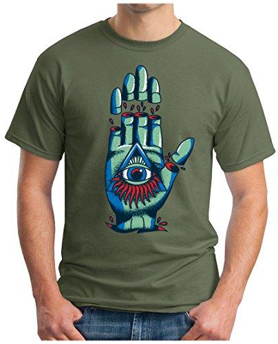 OM3 - ILLUMINATI-HAND - T-Shirt GEEK, S - 5XL Oliv