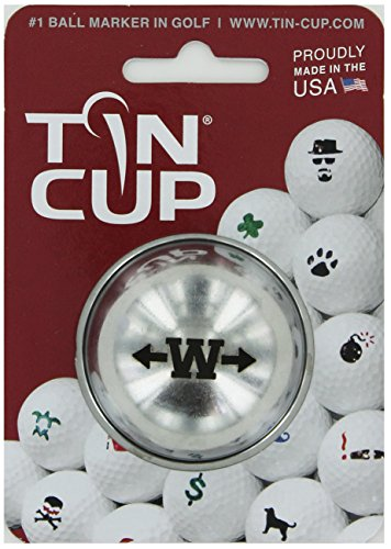 TIN CUP. GOLF BALL MARKER SYSTEM. ALPHA PLAYERS SERIES. LETTER W