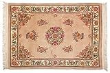 Lifetex.eu Teppich Peking Blumenmotiv China ca. 200 x 140 cm · Braun · handgeknüpft · Schurwolle · Modern · hochwertiger Teppich · 15220