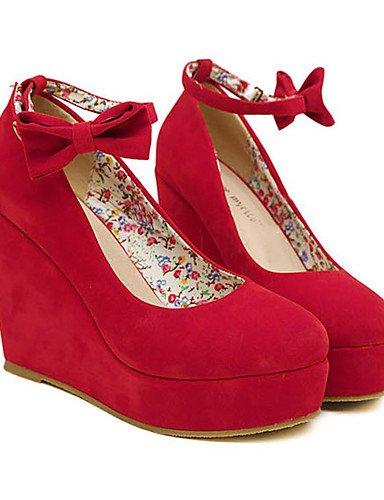 WSS 2016 Chaussures Femme-Mariage / Soirée & Evénement-Noir / Rouge-Talon Compensé-Compensées-Chaussures à Talons-Daim red-us5.5 / eu36 / uk3.5 / cn35