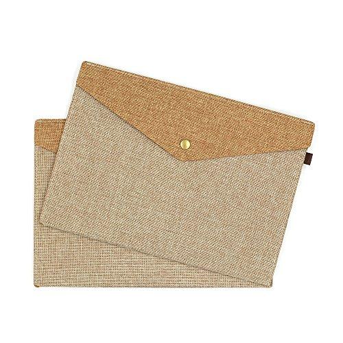 Jia HU 2A5einfach Filz Leinen Datei Ordner Dokument Umschlag Organizer mit Magnet Button khaki (Leinen-datei-ordner)