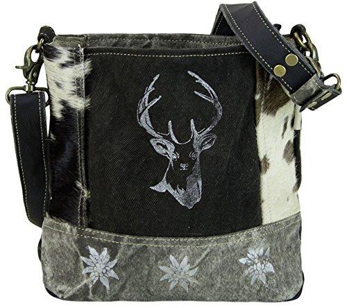 Domelo Tracht Damen Kleine schwarz Umhängetasche Trachtentasche Dirndltasche aus Canvas und Leder Kuhfell Frauen Crossbody (Leder Schwarz Kuhfell)