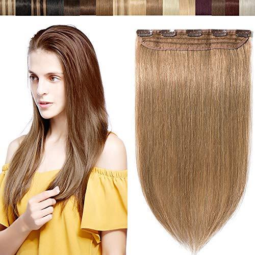 """16""""(40CM) Extension à Clip Blond Foncé Naturel [Une Pièce à 5 Clips] Sans Shedding/Tangle/Noeud [27#Blond Foncé]"""