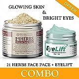 Bella Vita Organic Combo Under Eye Gel per le occhiaie, occhi gonfi, crema antirughe per le donne e gli uomini con 21 Erbe impacco polvere per la pelle luminosa e tutte le preoccupazioni