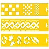 (Satz von 3) 30cm x 8cm Flexibel Kunststoff Universal Schablone - Textil Kuchen Wand Airbrush Möbel Dekor Dekorative Muster Torte Design Technisches Zeichnen Zeichenschablone Wandschablone Kuchenschablone - Quadrate Schachbrett Schachmuster