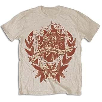 Rockoff Trade Men's Tape Deck Heart Short Sleeve T-Shirt, Beige, Medium