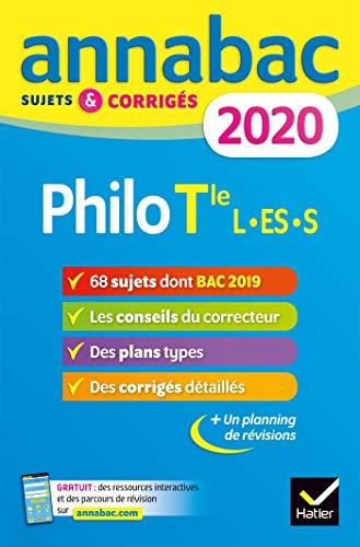 Annales Annabac 2020 Philosophie Tle L, ES, S: sujets et corrigés du bac Terminale séries générales