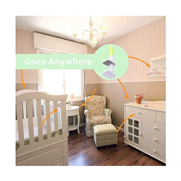 DQTYE Universal Baby Monitor Holder with Straps Infant Video Shelf with Flexible Long Arm Hose Camera Phone Mount 360 Degree Rotation for Bedroom Office Baby Cot + Cable Clip - Green DQTYE 👶 Get the Best View of Your Baby - This baby monitor shelf gives you the perfect view of your baby, no longer limited to the baby camera on the edge of the crib. This baby monitor crib mount can be mounted on a variety of furniture or Window sills, giving you a complete picture of your sleeping baby. You can reposition and bend it to find the best view to see your baby, not to come back and re-adjust the monitor, saving a lot of valuable time. 👶 Universal Device for Most Baby Monitors on the Market - this baby camera stand is suitable for most baby cameras with a base/bracket width between 3.5 and 6.3 inches. We have tested several leading on the market baby monitor brand, don't worry about The size difference. To ensure product safety, do not use a baby monitor with a baby monitor that does not have a separate base/bracket. 👶 Satisfaction Guarantee - We test and improve our products constantly to provide you the absolute best quality at the most excellent every day price possible. If any concerns, send us an e-mail and we will get to you in 24 HOURS. We will give You a 100% refund if you are not completely satisfied with purchase! 8