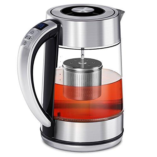 CISNO Elektrischer Tee-Kessel mit Temperaturkontrolle, blaue LED Glasteekanne mit Edelstahl-Sieb, 1.7L 2200W kabelloser Kessel mit dem Tee-Infuser steiler (Elektrische Tee Infuser Wasserkocher)