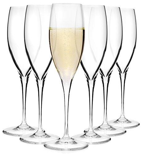 Bormioli Sektglas Set 'Premium' 6 teilig | Gastronomiequalität | Füllmenge Sektflöte 26 cl | Stiellänge 10 cm | Perfekte Brillianz dank Star Glass Technologie