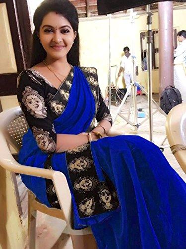 Rajeshwar Fashion Women\'s Cotton Saree (Mataji Black Border Blue)