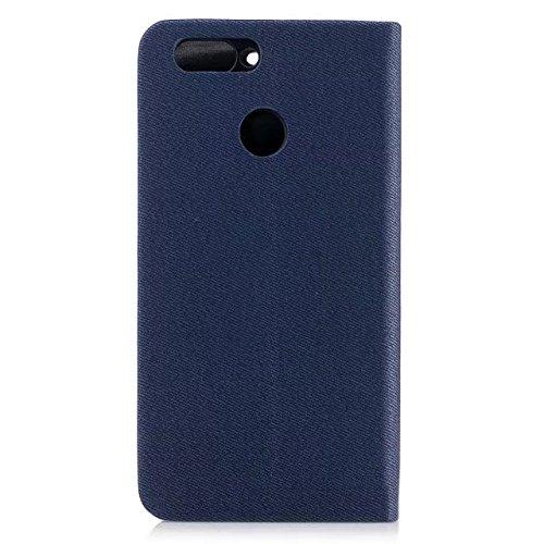 EKINHUI Case Cover Mischfarben Premium Synthetik PU Ledertasche mit Kartenfächern und Kickstand für Huawei NOVA 2 ( Color : Blue ) Blue