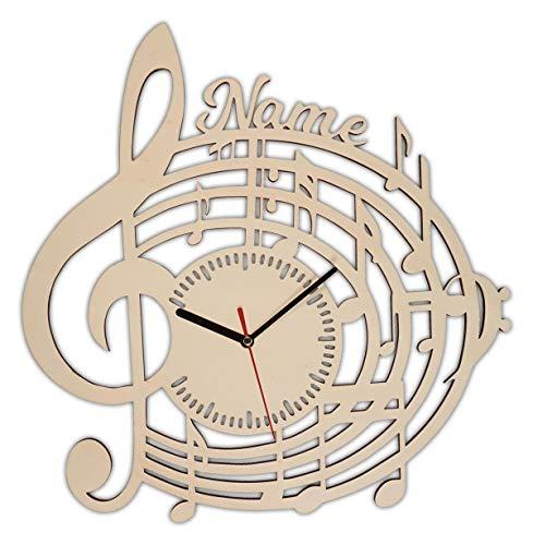 Musik Erwachsene Geschenkartikel Geschenkideen Musikliebhaber Wanduhr Geschenke mit Gravur aus Holz personalisiert
