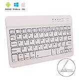Tastiera Wireless Keyboard Senza Fili Bluetooth da 7 pollici Mini Tastiera Ultrasottile 7 inch Bluetooth 3.0 Sistema Per Windows/Android/iOS/iPad/iPhone/Mac/Apple/ Samsung/HP/Tablet/Tavoletta (Bianca)