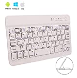 Teclado Bluetooth Inalámbrico Ultrafino de 7 pulgadas Mini Tableta Teclado 7 inch Wireless Keyboard para iPad 2 3 4 /Air/Mini,iPhone,Mac,Apple,Samsung,Asus,HP,Tablet PC , Cuaderno,Computadora (Bianca)