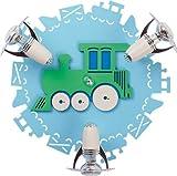 Kinderzimmer Lampe / blau / 3-flammiges Rondell / E14 bis 40W 230V / Holz & Kunststoff / Holzlampe / Lampe Eisenbahn Motiv / Leuchte Kinder / Kinderzimmerlampe blau / Kinderleuchten / Leuchte Jungen