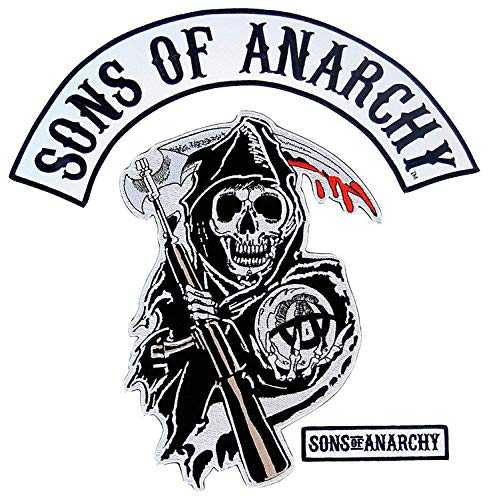 Sons of Anarchy Text and Arched Reaper Logo Mens Patch Set -