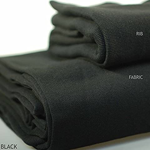 Sweatshirt Fabric for Hoodies, Dressmaking, Craft. 17 colours. European Schools Approved and Tested, Brushed Back. Great performance, natural stretch - Black, 2m Fabric + 1m Rib