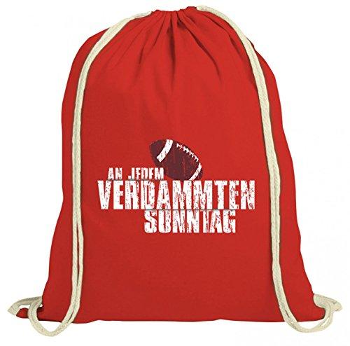 em Verdammten Sonntag Premium Turnbeutel   any Given Sunday   American Football   Super Bowl   Gymbag, Farbe:Rot (Gymbeutel);Größe:37cm x 46 cm ()