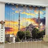 Yifengjubao Vorhänge 3D Vorhänge 3D Istanbul Moschee Abenddämmerung Schalldämmung Wärmedämmung Verdunkelung Wohnkultur Schlafzimmer 2 Panels,Width140*High210cm