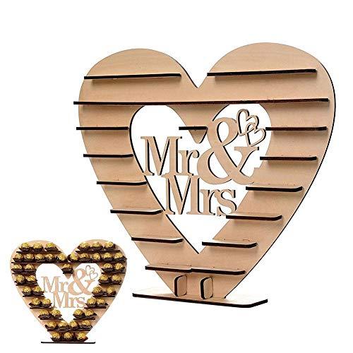 Waterfaill Support Pour Ferrero Rocher Bois Mr Mme Coeur Chocolat Présentoir Tree Stand Mariage Party Decor Centre De Table Décoration Romantique
