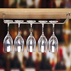 Plantex Upside Down Stainless Steel Wine Glass Hanging Organizer, L15.5xW4.5 Inches (Silver)