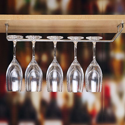 Plantex Wine Glass Rack/Holder Upside Down Glass Hanging Organizer for Pubs/Kitchen/Bars - (Single Line - Large)