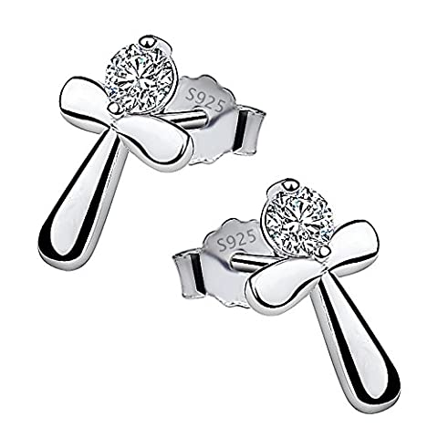 Meixao Sterling Silver Cross Stud Cubic Zirconia Earrings for Women (White)