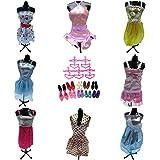15 Pieces of Barbie Doll Dresses Clothes Hangers & Shoes Bundle Lot D5