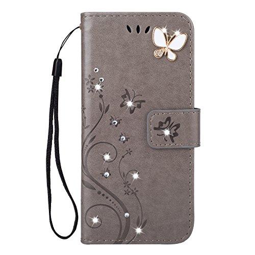 EUWLY Schutzhülle Kompatibel mit iPhone 6S Plus 5.5 Handyhülle Luxus Schmetterling Strass Glitzer Bookstyle LederHülle Ledertasche Klappbar Handy Tasche Leder Flipcase Magnetverschluß,Grau Luxus Strass