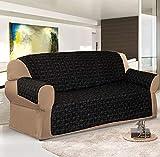 Jacquard Sofa Slip Covers / Protection pour canapé Disponible en 3Tailles et 6Couleurs, Noir/Gris, 1 Seater (Arm Chair)