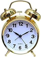 Jamboree Analog Black, Smart Buy Alarm Clock with Nightlight, Cuitan Vintage Silent Ticking Table Twin Bell Wake Up Alarm Clock for Students/Children/Office Workers/Travelers, Battery Operated (Battery Is Not Included) Clock