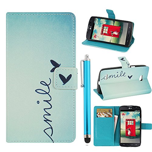 Hunye PU Ledertasche im Bookstyle Schutzhülle für LG L80 Tasche Etui Cover Smile Sprüche Muster Flip Case Schale mit Stylus hellblau
