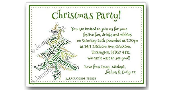 10 Personalised Word Cloud Christmas Tree Invitations With