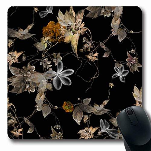 Luancrop Mousepads Muster-abstrakte Aquarell-Malerei-Blatt-Blumen-Blumennatur-Grün-Tendenz-Schwarz-Frühling rutschfeste Spiel-Mausunterlage Gummi-längliche Matte -