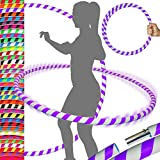 ULTRA-GRIP Pro Hula Hoops (100cm/39') UV Weighted TRAVEL Hula Hoop/Hula Hoops For Exercise, Dance & Fitness! (680g) NO Instructions Needed - Same Day Dispatch! (White/Purple)