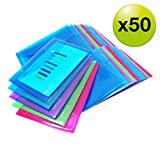 Rapesco 1499 lot de 50 ochettes porte-documents A5 couleurs vives transparentes
