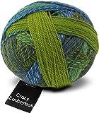 Schoppel Wolle Wolle Crazy Zauberball Socke Strickgarn 2136grün/blau/türkis–Pro 100Gramm-Ball + Gratis Minerva Crafts Craft Guide