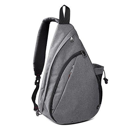 Sling Bag Damen und Herren, Outdoormaster Leichter Schulterrucksack Sling Rucksack Pack mit bequemem Material, multifunktionales Crossbag Brust Tasche Schleuder Tasche für Outdoorsport (Grau)