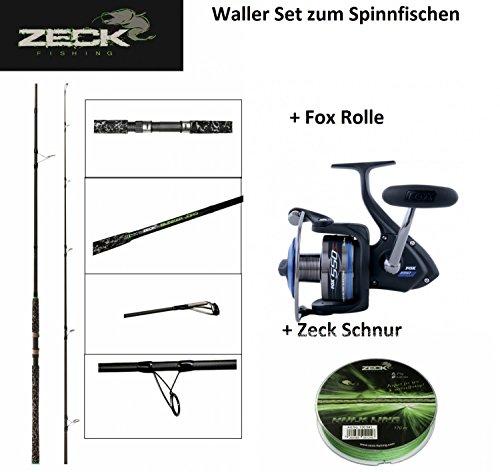 Waller Set Spinnfischen -Zeck Spinrute 270cm + Fox Rolle + Zeck Schnur