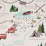 Alexander Henry Cremefarbener Weihnachtsstoff mit Landkarte