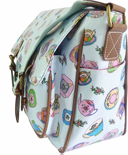 Saute Styles, Borsa a secchiello donna medium LBlue Utensils Print