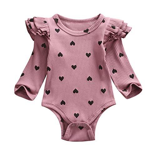 Livoral Baby Neugeborenes Baby Valentinstag Herz-förmig gedruckt gekräuselten Overall(B-Lila,3-6 Monate)