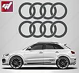 2 x GT-Design-Aufkleber-Aufkleber, Audi-Ringe 280x 96mm, Sticker für Audi A2, A3, A1, A6, A8, A7, A5, RS, TT, Q5, Q7, R8, Sport