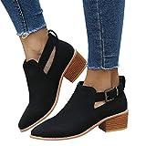 TianWlio Boots Stiefel Schuhe Stiefeletten Frauen Herbst Winter Spitze Schuhe Hohle Booties Schnallenriemen Quadratische Ferse Einzelne Schuhe Weihnachten Schwarz 39