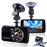 Picture Of Dash Cams For Cars Front and Rear with Night Vision, Car Camera with 8 Led Lights, 1080P Full HD Dual Lens Dash Cam, 4 Inches Large IPS Screen, 170 wide angle, Loop Recording, G-Sensor