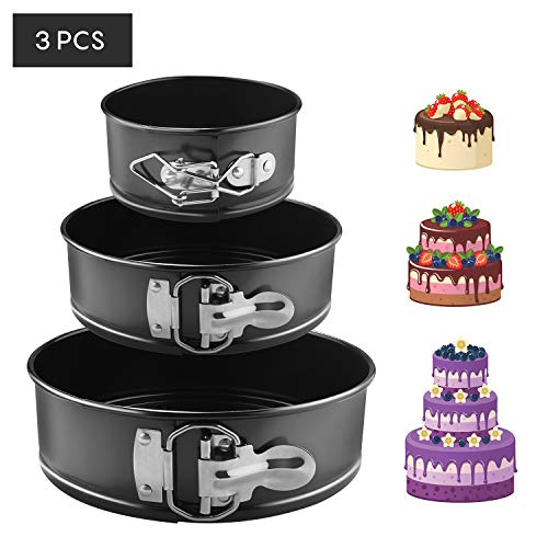 "EKKONG Cake Tins Set, Cake Pan 3 Pieces 4""/7""/9"" Non-Stick Leakproof Round Springform Cake Tin with Removable Bottom (3 pcs)"